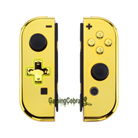 Chrome Gold Controller Housing (D Pad Version) With Full Set Buttons DIY Replacement Shell Case for Nintendo Switch Joy Con