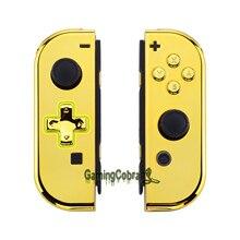 جراب بديل لجهاز Nintendo Switch Joy Con ، غطاء ذهبي مطلي بالكروم لوحدة التحكم ، إصدار D Pad