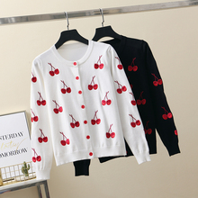 Newest Sweet Cherry Embroidery Knitted Cardigan Women 2019 Autumn Long Sleeve O-Neck Sweater Female Single-Breasted Top