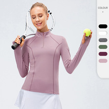 New Women Yoga Top Sport Zipper Long Sleeve Yoga Shirt With Thumb Holes Breathable Gym Fitness Shirt Sports Wear For Women