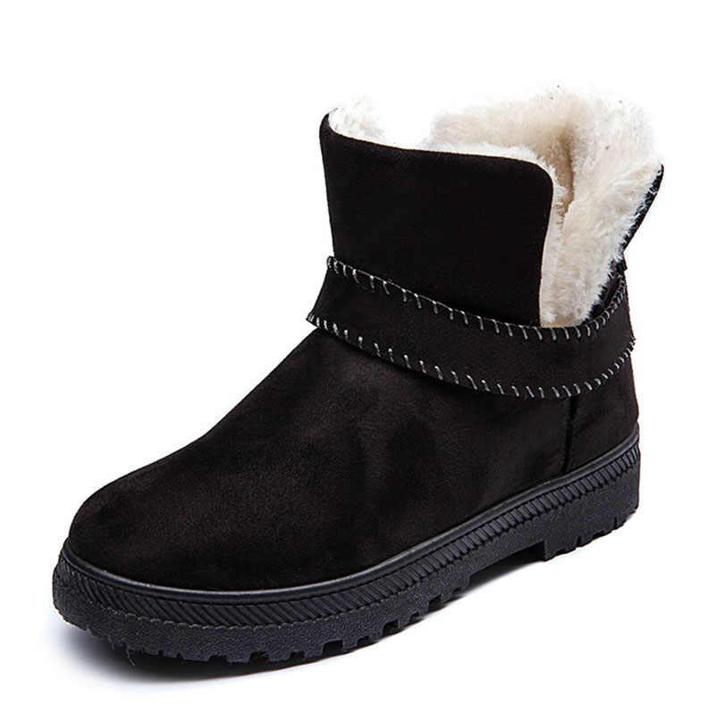 Nieuwe Enkellaars Voor Vrouwen Snowboots Platform Vrouwen Schoenen Winter Laarzen Vrouwen Warm Bont Binnen Winter Schoenen Dames Zachte flats