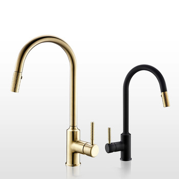 цена на Brushed gold Kitchen Faucet Brass Sink Cold And Hot Mixer Tap Knurling Pull Out Taps Double Water Setting Mode