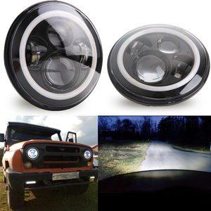 Image 3 - 2Psc 7 Inch LED Headlight H4 Hi Lo With Halo Angel Eyes For Lada 4x4 urban Niva Jeep JK Land rover defender Hummer