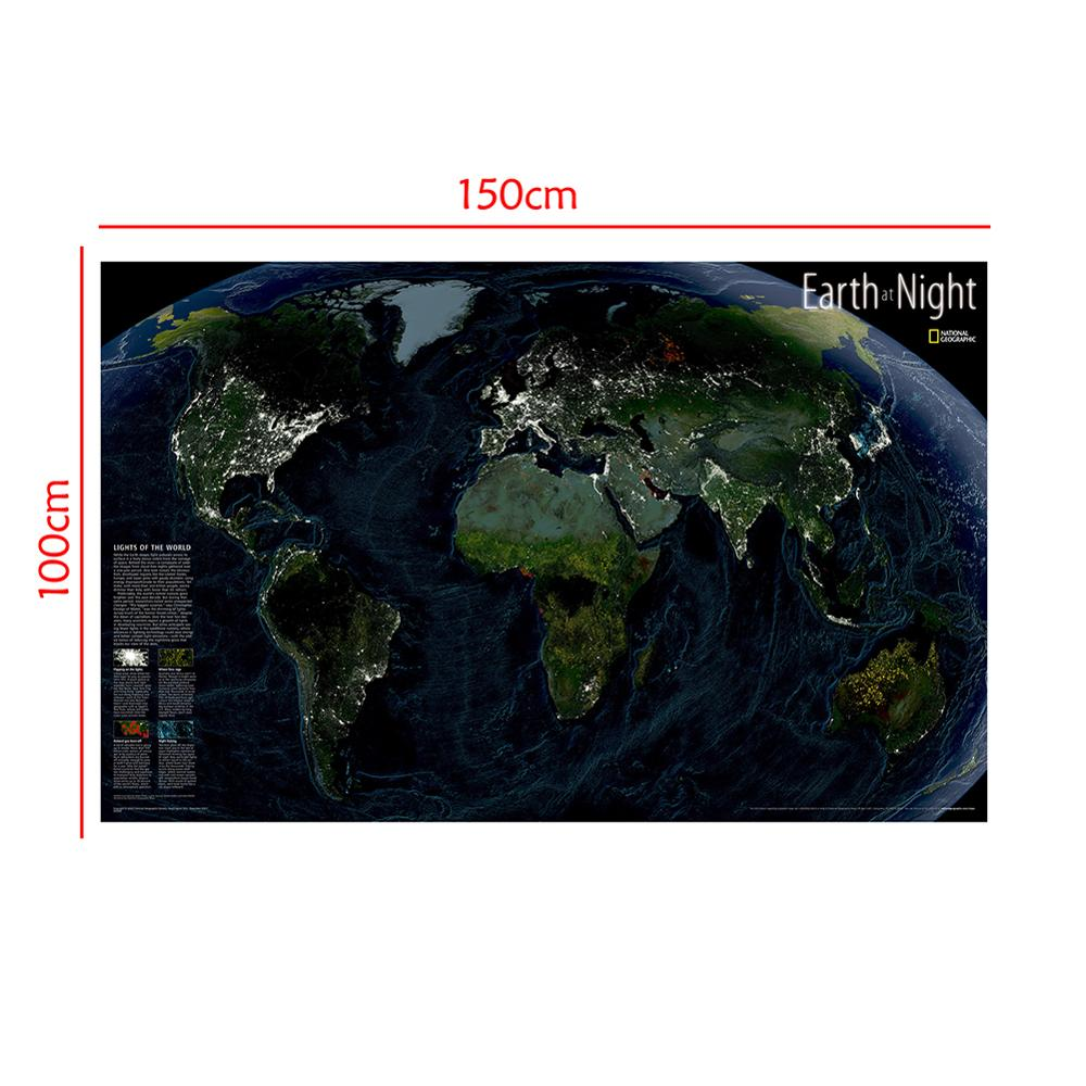 Satellite Map Earth At Night 150x100cm Non-woven World Map World Map The Night Of The World