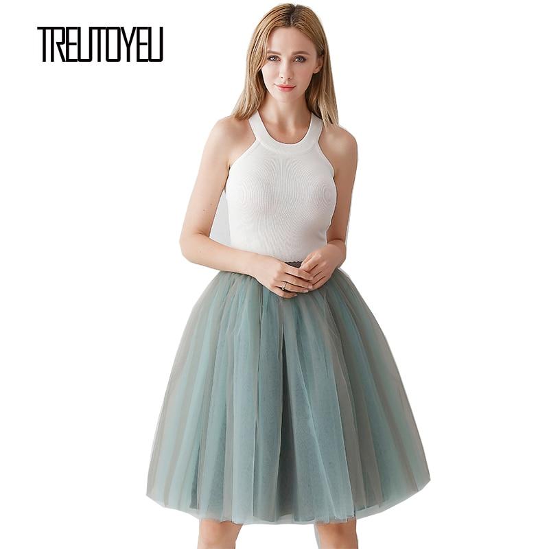 Treutoyeu Design Vintage Midi Tutu Tulle Skirt 6 Layers Grey+Sky Blue Sexy Punk Pleated Skirts Womens Faldas Mujer Moda 2020