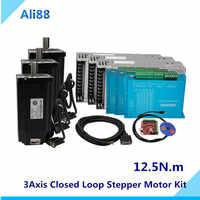 Nema 34 12.5N.m Closed Loop Stepper Motor Kit :Hybird Servo driver HBS860H + 86HB250-156B 86 2 Phase stepper nema