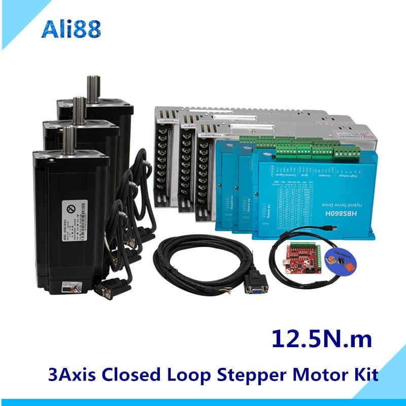 Nema 34 12.5n.m fechado loop stepper motor kit: hybird servo driver hbs860h + 86hb250-156b 86 2 fase passo nema
