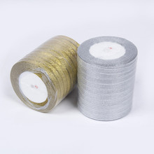 Silk Satin Ribbons Embroidered Craft-Supplies Decoration Glitter Wedding-Cake-Gift Gold/silver
