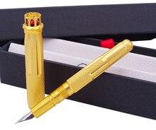 Zwart Fuliwen 015 Windmolen Metalen Aluminium Vulpen Roterende Ruby Pen Top Ef/F/M Inkt Pen, komen Met Fuliwen Pen Bag & Doos