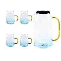 1500ml Water Bottle Pot 300ml Glass Cup Home Office Mug Kettle Flower Good Heat Resistance Tea Pot Juice Jug Drinkware Tea Set|  -