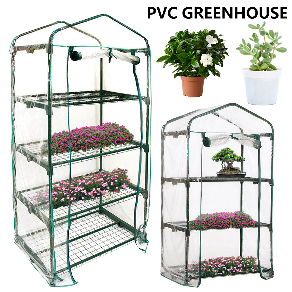 PVC Warm Garden Tier Folding Mini Transparent Garden Cover Household Plant Greenhouse Waterproof Garden Plants NO Iron Stand