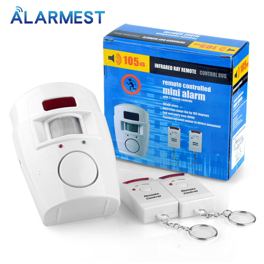 Smarsecu 2 Remote Controller Wireless Home Security PIR Alert Infrared Sensor Alarm System  Motion Detector Alarm Siren