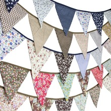 Fabric Banners Cotton Flower Party-Decoration Baby-Shower-Garland Wedding Vintage Bunting