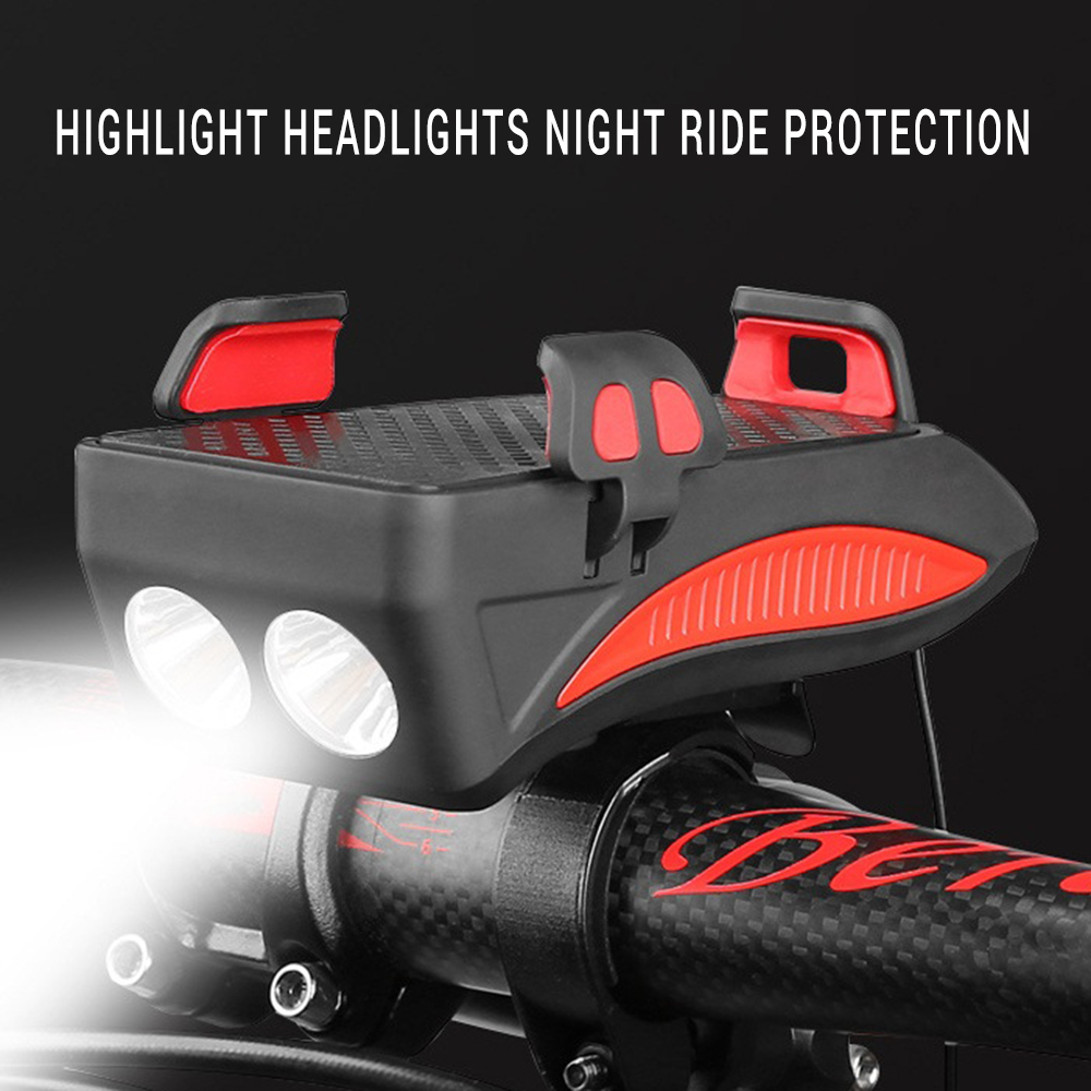 4 In 1 Bicycle Light Riding Flashlight <font><b>Bike</b></font> Horn Alarm Bell <font><b>Phone</b></font> <font><b>Holder</b></font> Bracket <font><b>Power</b></font> <font><b>Bank</b></font> <font><b>Bike</b></font> Accessories Cycling Front Lamp image