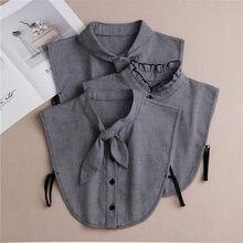 Linbaiway – chemise 2021 coton, Faux Col, cravate femme, Faux Col détachable, chemisier à revers, haut, vêtements amovibles
