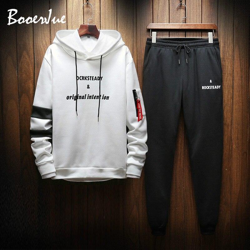 Tracksuit Men Set Contrast Stripes Sweat 2PCS Jacket+Pants Suit Casual Hoodie Men Sets Sweatshirt Men Sweat Suit Men Streetwear