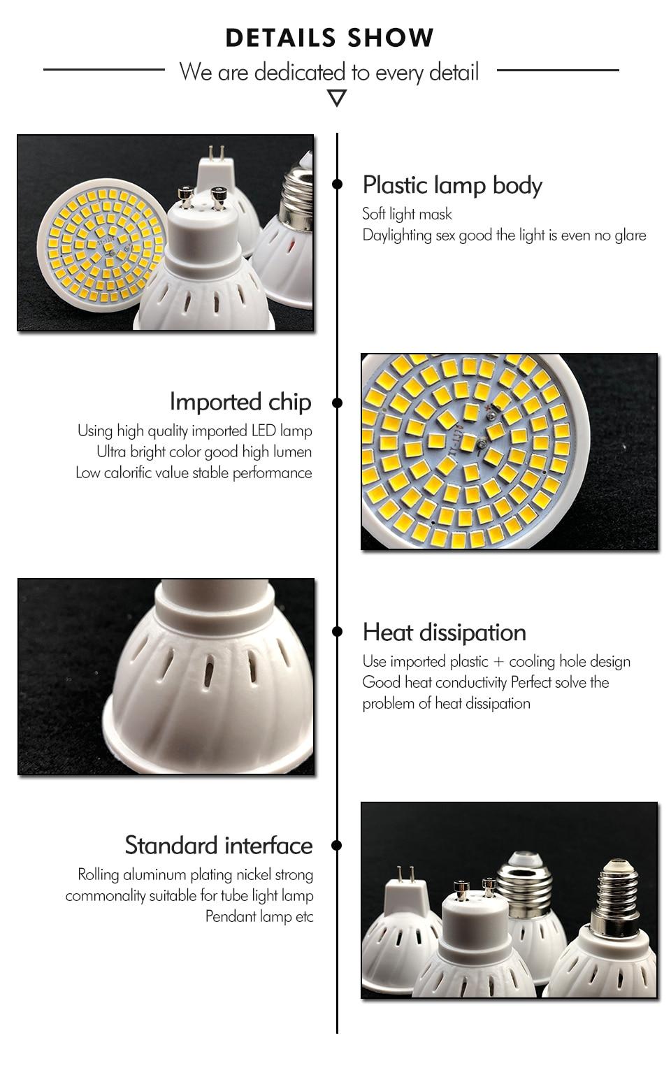 H17701319c455463f9ddd0ebac3e74c82a - KARWEN  Lampada LED Lamp GU10 MR16 E27 E14 Bombillas LED Bulb 220V 240V Spotlight 48 60 80 LED 2835 SMD Lampara Light