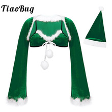 Costume Adult Long-Sleeve Flannel Sexy Women Tiaobug Miss with Feather-Trim-Bra And Xmas-Hat
