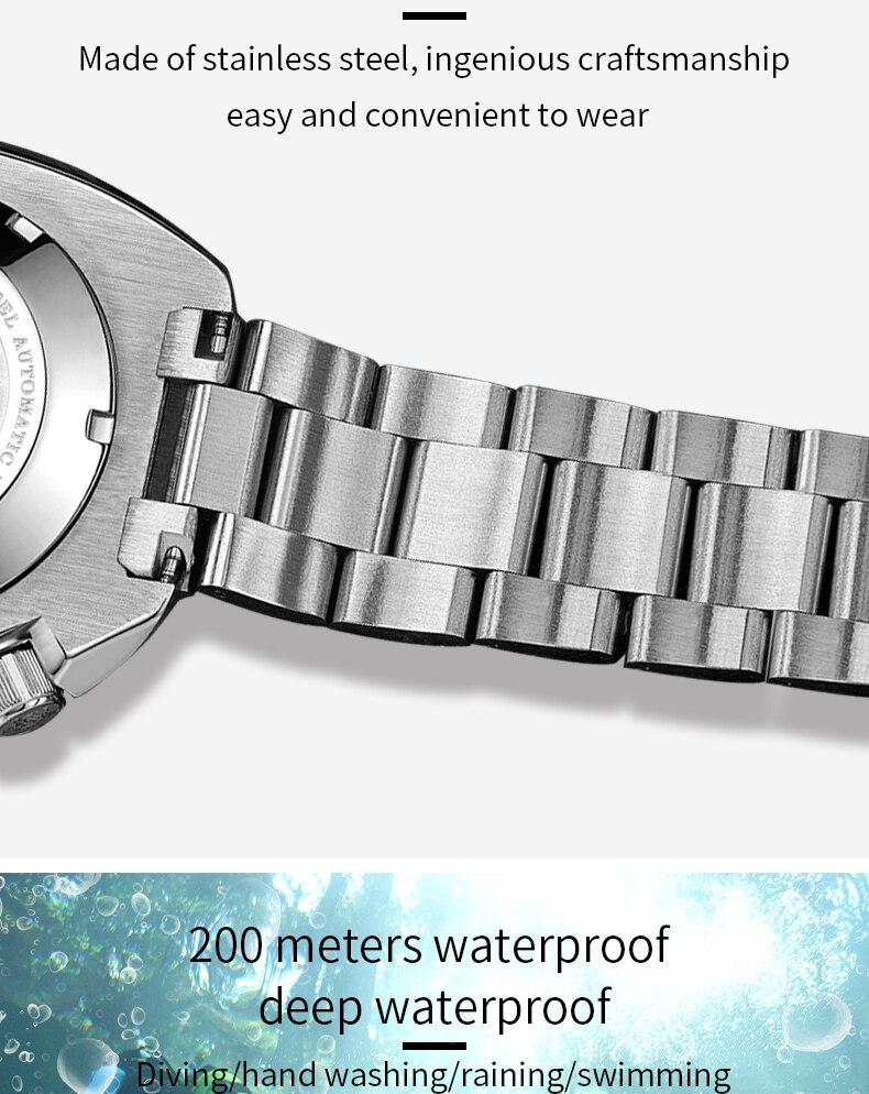 H1770390a45094d7d82d48f9e7d5053deE 1970 Abalone 200m Diver Watch Sapphire crystal calendar NH35 Automatic Mechanical Steel diving Men's watch