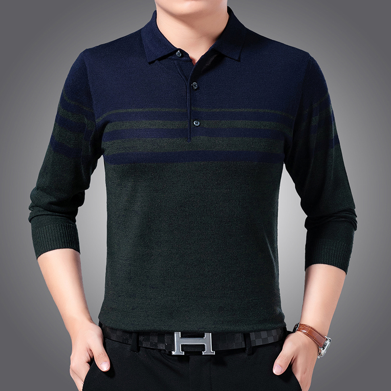 Fashion Brand Sweaters Men Pullovers Striped Slim Fit Jumpers Knitwear Turndown Collar Winter Korean Style Casual Clothing Male