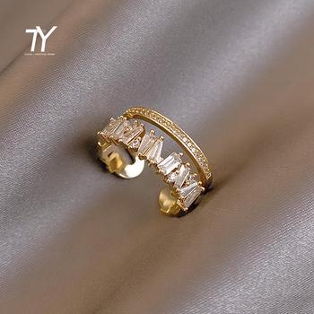 Luksusowa cyrkonia złoto podwójne studenckie pierścienie otwierające dla kobiety 2021 nowych moda gotycka biżuteria na palce Wedding Party Girl #8217 s Sexy Ring tanie i dobre opinie Taoya CN (pochodzenie) Mosiądz Metal Klasyczny Zestawy ślubne Wysadzany Na imprezę Pierścionki