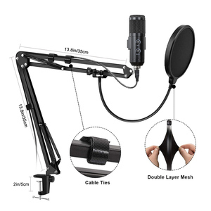 Image 5 - USB Microphone Kit 192KHZ/24BIT Professional Podcast Condenser Mic For Gaming Computer PC YouTube With Adjustable Boom Arm Stand