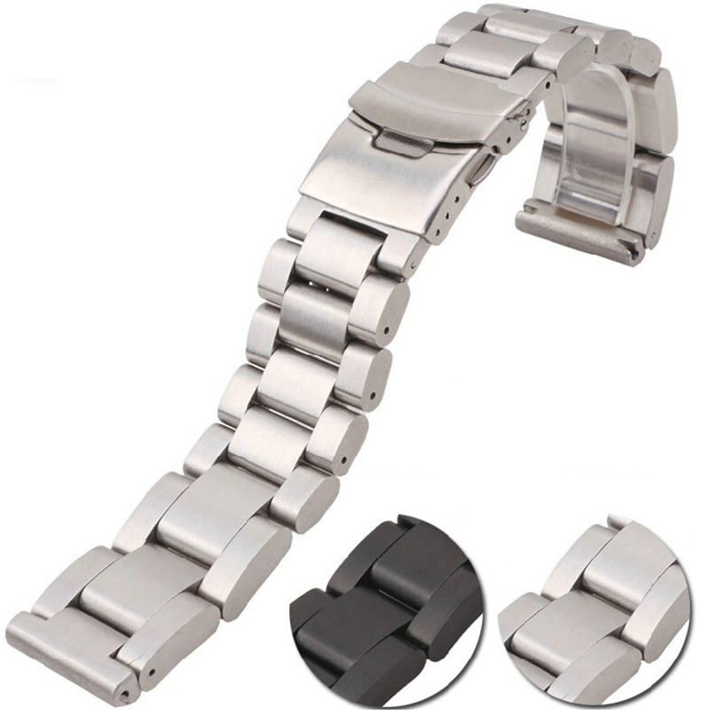 For PAM Diesel Watch Band 22mm 24mm 26mm black silver high quality Thickness Heavy stainless steel folding buckle bracelet