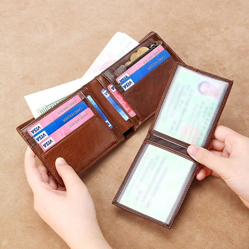 Vintage hommes court portefeuille en cuir petit avec fermeture à glissière monnaie poche sac mince porte carte bancaire sac d'argent Mini portefeuilles sacs à main homme