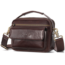 100% Genuine Leather Waist Packs Fanny Pack Retro Men Belt Bag with Phone Pouch Travel Waist Bag Male Small Messenger Bags