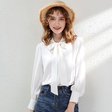AcFirst Autumn Women Tops Casual White T-shirts Solid Shirt Plus Size Blouse Cotton Sexy Bow Lantern Sleeve Chiffon