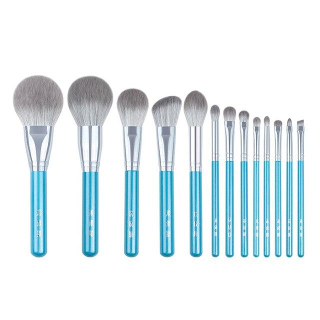 13 adet/takım mavi makyaj fırçaları tüm set büyük pudra allık şekillendirici göz farı makyaj seti leke vurgulayıcı kaş dudak fırçası