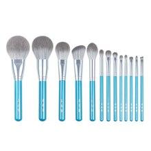 13 pièces/ensemble pinceaux de maquillage bleu ensemble entier grand fard à joues en poudre kit de maquillage fard à paupières sculptant