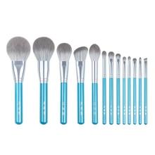 Juego de 13 pinceles azules de maquillaje, colorete en polvo grande, kit de maquillaje para esculpir sombras de ojos, resaltador de manchas, brocha para cejas y labios
