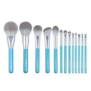 Image 1 - Juego de 13 pinceles azules de maquillaje, colorete en polvo grande, kit de maquillaje para esculpir sombras de ojos, resaltador de manchas, brocha para cejas y labios