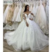White Tulle Lace Appliques Long Sleeves V Neck Floor Length Ball gown Wedding dress Chapel Train Custom made