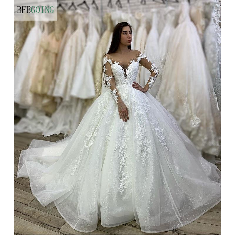 White Tulle Lace Appliques Long Sleeves V-Neck Floor-Length Ball Gown Wedding Dress Chapel Train Custom Made