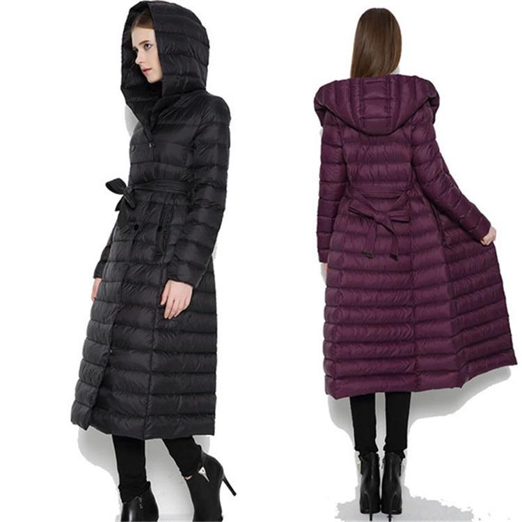 Light Down Jacket Woman Hooded Winter Long Coat Women Double-breasted With Belt Jackets Parka Casacas Para Mujer KJ414