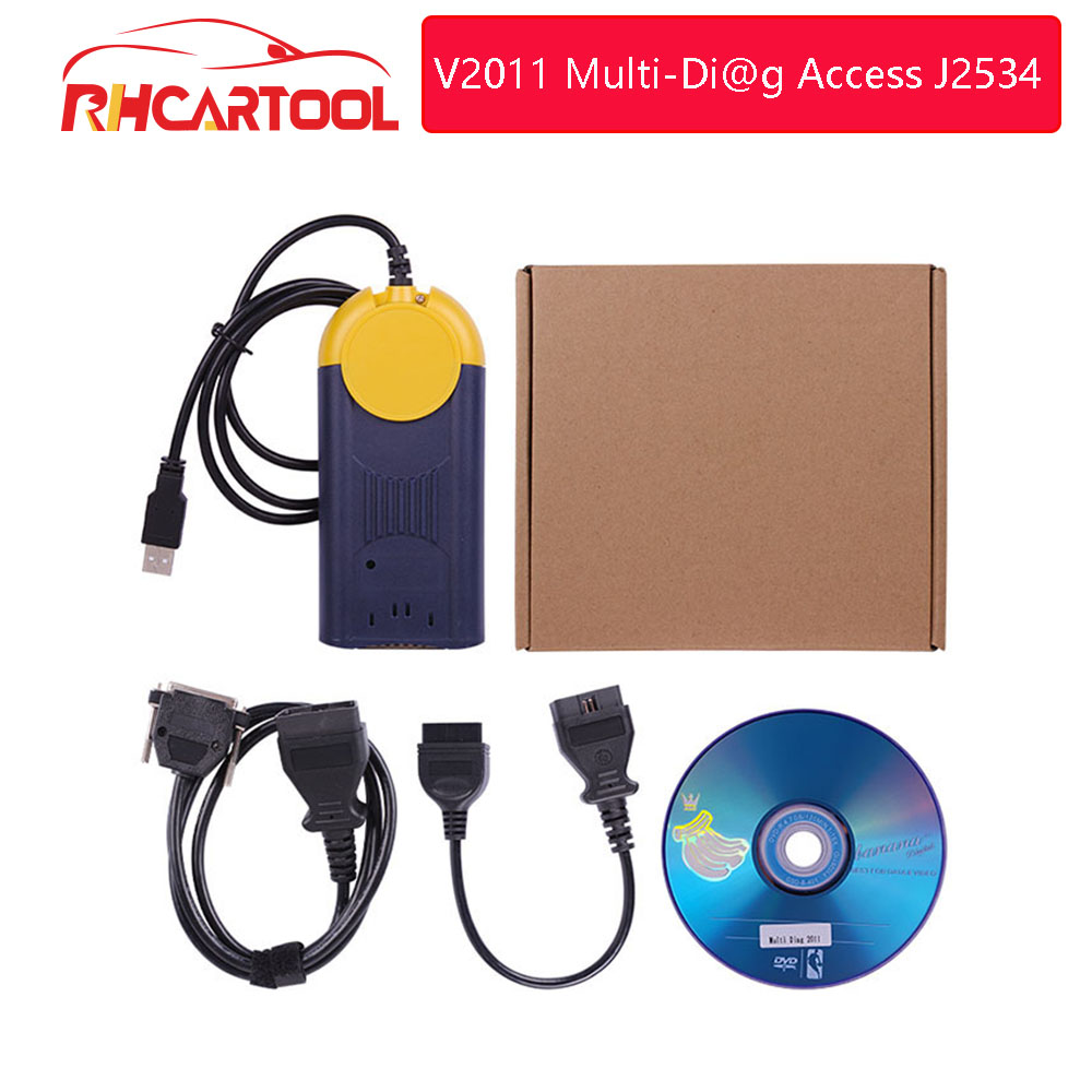 Free Shipping High quality V2011 Multi Di@g Access J2534 Pass Thru OBD2 Device actia multidiag Multi Diag Multi Diag v2011-in Auto Key Programmers from Automobiles & Motorcycles    1