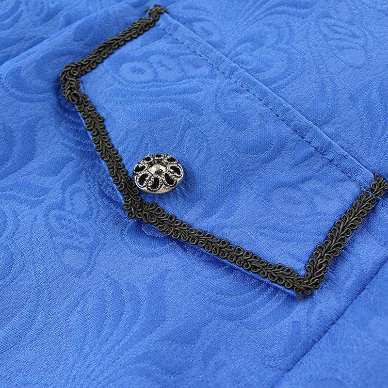 Осенняя Ретро Готическая куртка в псевдостаринном стиле Мужская винтажная верхняя одежда с цветочным принтом Пальто Повседневная кнопка для ветровки длинное пальто
