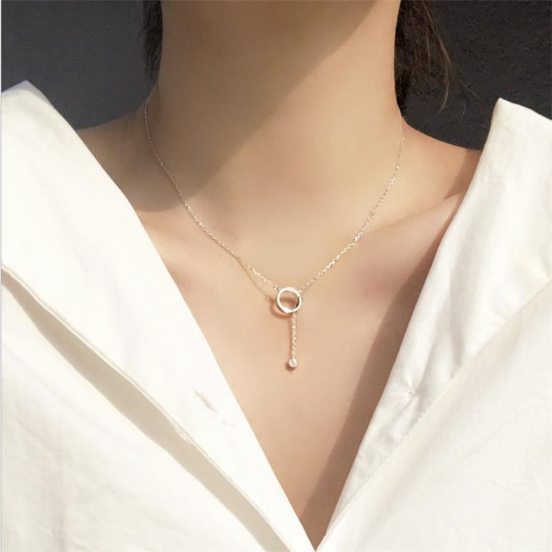 Trendy 925 Sterling Silver Necklace Girls Party Accessories Charm Round Pendant Necklace Female Jewelry Cute Ball Choker Bijou