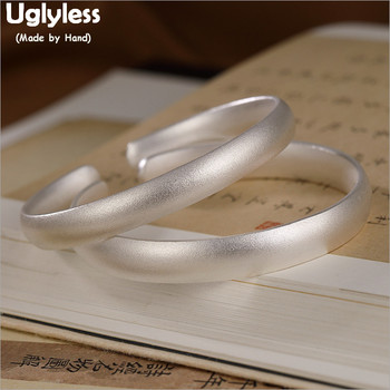 Uglyless 1Piece 999 Pure Silver Blank Bangles for Women Men Lovers Fine Jewelry Frosted Surface Open Silver Bangles 2Size BA703