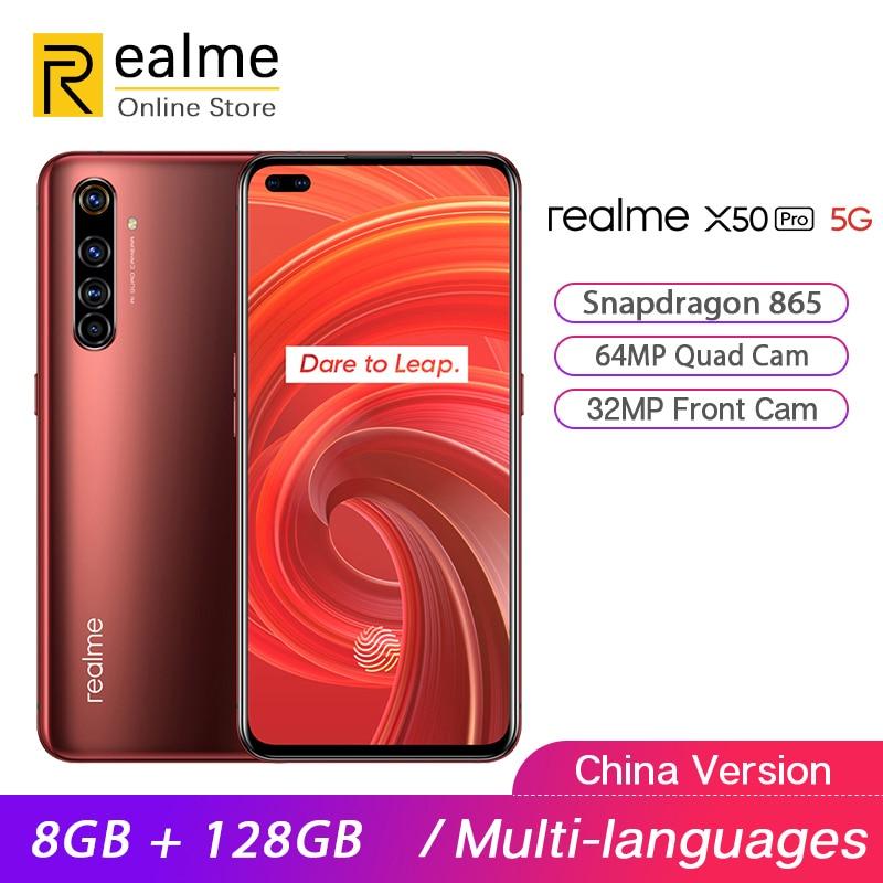 Oryginalny Realme X50 Pro 5G Smartphone Snapdragon 865 8GB 128GB telefon komórkowy 6.44 ''2400 × 1080 90Hz 64MP Android 10 65W SuperVOOC