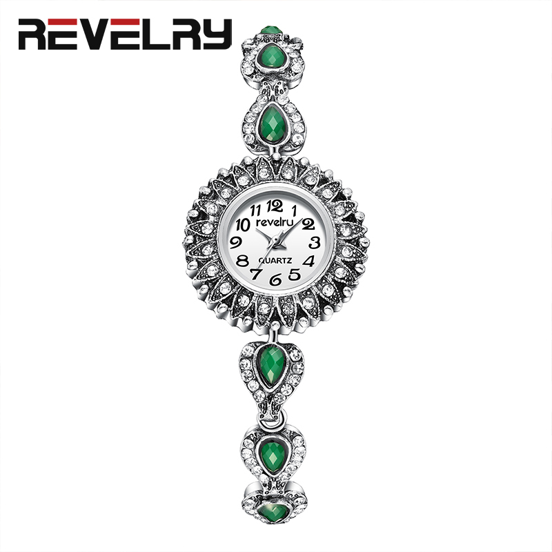 REVELRY Wrist Watch Women New Fashion Minimalist Women's Rhinestone Bracelet Clock Watches Montre Femme Quartz Watch Womens