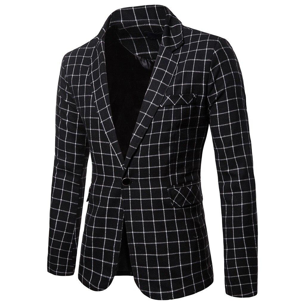 Charm Mens Casual Fit Slim Suit One Button Business Coat Jacket Slim Fit Male Blazer Plaid Blouse Veste Classique Homme