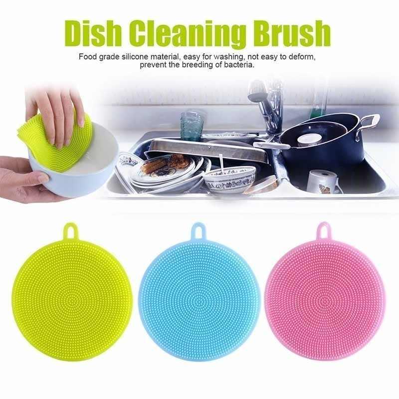 1PC 매직 실리콘 Dishwashing 스폰지 스크러버 청소 브러시 백 청소 헝겊 Dishwashing 팬 주방 세척 요리