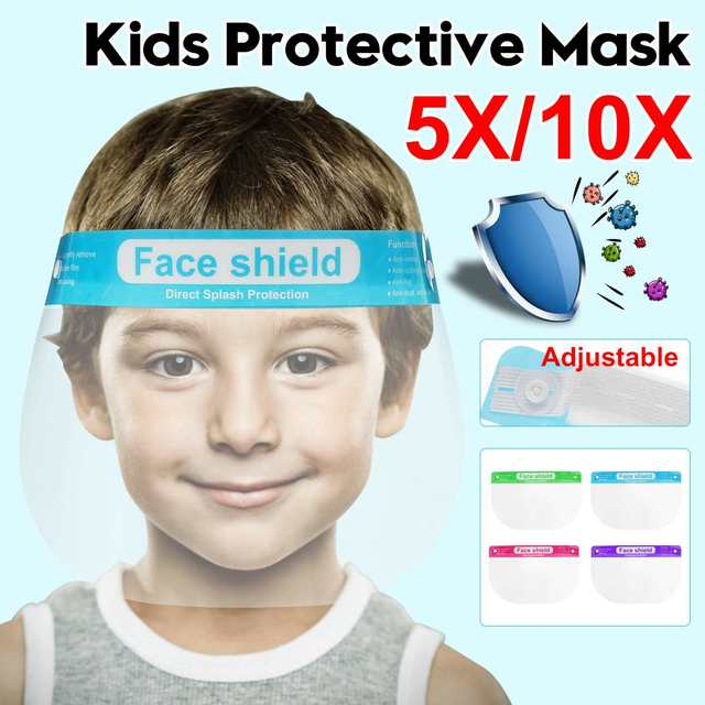5/10pcs Children Kids Full Face Shield Mask Protective Visor Face Mask Plastic Anti Splash Anti saliva Dustproof Full Face Cover
