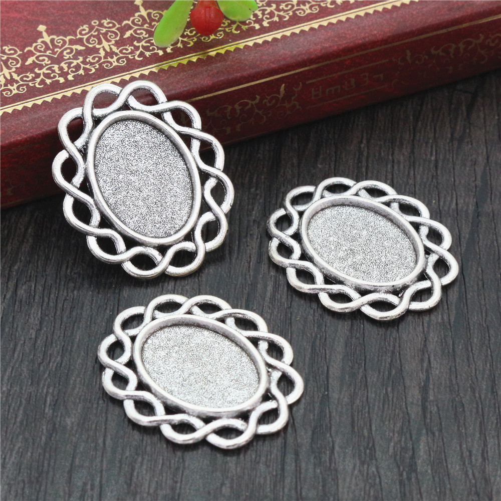 10pcs 13x18mm Inner Size Antique Silver Plated Simple Style Cameo Cabochon Base Setting Charms Pendant Necklace Findings