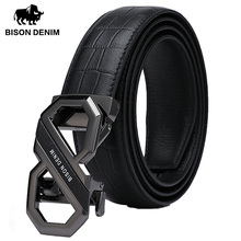 BISON DENIM Men Genuine Leather Luxury Designer Belts First Layer Cowskin Fashion Strap Male Jeans Automatic Buckle W71509