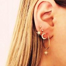 New star moon earring set creative retro simple earrings 4 pcs /set