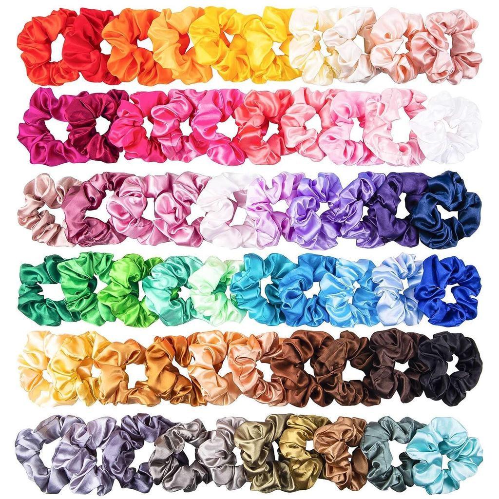 60 Pcs Hair Scrunchies Silk Satin Hair Band Suitable For Women's Ponytail Hair Accessories Headwear Dropshipping YJJ3